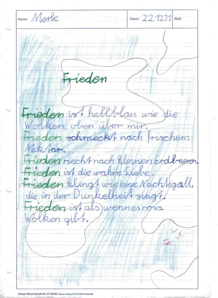 Gedicht frieden grundschule